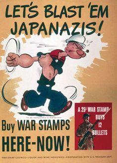 Popeye: Imagem do personagem feita nos anos 40 na época da Segunda Guerra.