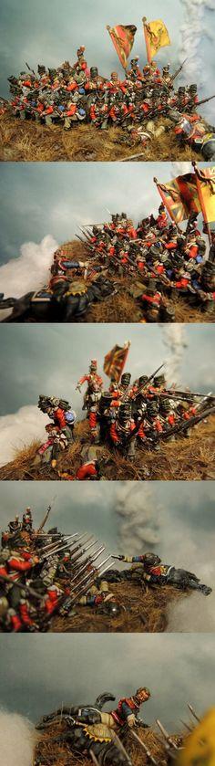 Brtitish square repels cavalry (28 mm Perry Bros)