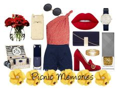 """""""Picnic Memories"""" by thetrendsetter13133 on Polyvore featuring Rosie Assoulin, Gucci, Dorothy Perkins, Kate Spade, Burberry, Lime Crime, Clé de Peau Beauté, ROSEFIELD and LSA International"""