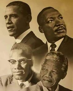 portraits d'hommes politiques noirs US et sud-africain : Barak Obama Martin Luther King Malcolm X Nelson Mandela Arte Hip Hop, Black Leaders, Black Art Pictures, Black Love Art, Malcolm X, Black History Facts, Black History Month People, Black Artwork, Black African American