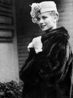 Grace Kelly wearing a dark colored mink coat