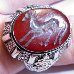Carved Carnelian Horse Sterling Silver Mens Ring Vintage by EponasCrystals, $200.00
