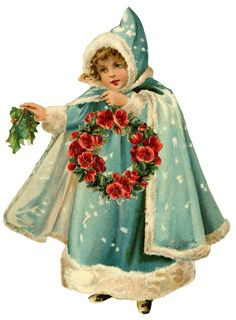 blue caped girl with red rose wreath & holly