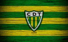 Download wallpapers Tondela, 4k, Portugal, Primeira Liga, soccer, wooden texture, Tondela FC, football club, logo, FC Tondela