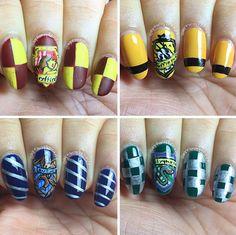 Harry Potter nails #harrypotter #gryffindor #ravenclaw #hufflepuff #slytherin