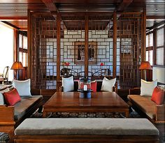 Beijing Luxury Resort Photo Album and Hotel Images - Aman at Summer Palace - picture tour Chinese Interior, Asian Interior, Interior Styling, Interior Design, Asian Furniture, Chinese Furniture, Living Room Modern, Home And Living, Chinese Design