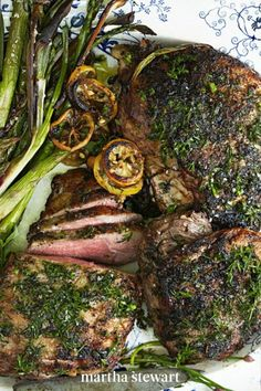Instead of the usual mint jelly, make use of garlicky ramps—which have a super short season during the spring—in a flavorful pesto that you can pair with roasted lamb. It's served alongside roasted asparagus and spring onions. #marthastewart #recipes #recipeideas #easterfood #easterrecipes #eastertreats #easterideas Mint Jelly, Rack Of Lamb, Easter Dinner Recipes, Ham Glaze, Easter Treats, Pasta Dishes, Onions, Pesto, Asparagus