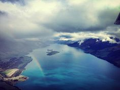 Northern arm of Lake Wakatipu, with a rainbow over Glenorchy. Lake Wakatipu, Milford Sound, Arm, Rainbow, River, Landscape, Outdoor, Rain Bow, Outdoors