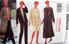 Plus Size Misses Pattern, Butterick 6208 Ladies/ Misses  Easy Jacket, Duster Top, Dress and Pants Size 14, 16,18, Uncut, Circa 1999 by OnceUponAnHeirloom on Etsy