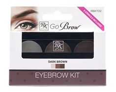 Ruby Kiss Go Brow Eyebrow Kit -Choose your color (Dark Brown). Ruby Kisses Go Brow Eyebrow Kit 3 Stencils Included A complete kit for expertly shaping, grooming, and defining your brows. How to use: 1. Brush eyebrow 2. Apply the brow wax using the spoolie brush to groom and shape 3. Fill in sparse areas with the brow powder using the angle brush 4. Now you get perfect brows! Kit Contains 2 Brow Powders 1 Wax Double sided brush and spoolie 3 Stencils.
