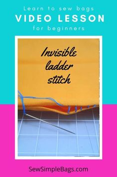 How to sew the invisible ladder stitch. Video sewing tutorial and lots of tips for how to sew the invisible ladder stitch by hand. This easy to sew stitch for beginners allows you to sew from the right side of the fabric and still get a near invisible finish so that your stitches do not show. An easy handsewing stitch for beginners, learn how to sew video tutorial included. Sewing Lessons, Sewing Hacks, Sewing Tutorials, Video Tutorials, Sewing Tips, Sew Simple, Simple Bags, Invisible Stitch, Ladder Stitch