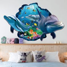 Dolphin Undewater sea fish 3d Sticker Wall Stickers 60*90cm For Kids Room Mural Removable Vinyl Wall Decals Decor Mural Poster  #Affiliate