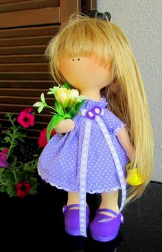 CLOTH DOLL, handmade doll, fabric doll, art doll, custom doll Girl with the flowers and yellow bailer
