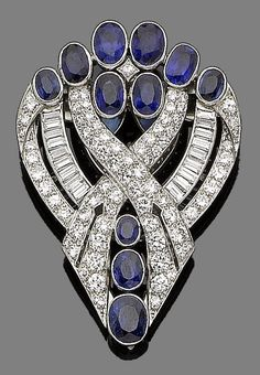 An art deco sapphire and diamond brooch