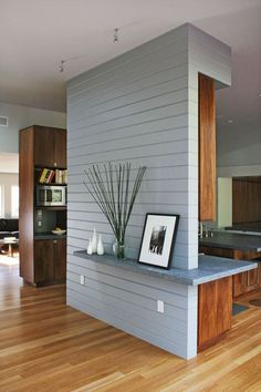 Modern Room Divider, Round Shelf & Pantry Placement and Dining Room Color Theme - Countertop
