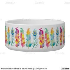 Watercolor Feathers in a Row Boho Dog Water Bowl - Feb 21