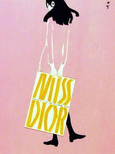 "jada111: ""(7) Ad for Miss Dior, 1972. René Gruau. | Artwork, Posters & Illustration… """