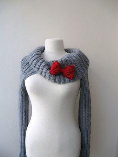 Knit Turtleneck Shrugcable patterndark grey by KnitAndWedding, $99.00