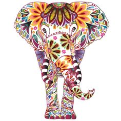 Colorful Elephant Wall Decal Vibrant Floral Pattern Easy | Etsy