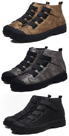 US$41.45 Men Elastic Laces Hook-loop Wearable Work Leather Boots#boots, #winteriscoming