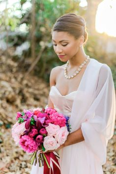 Bold Pink Peony Bouquet with a Delicate Blush Wedding Dress   Madison Short Photography on @perfectpalette via @aislesociety