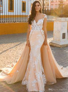 712a18c19b79 Buy wholesale 2017 sexy mermaid wedding dresses vestido de noiva cap  sleeves illusion back lace applique