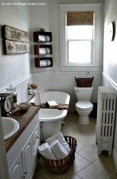 White with dark wood accents. I also love the pitcher on the bath board and all the baskets for storage.