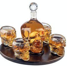Large Skull Decanter with 4 Skull Shot Glasses, Round Wooden Tray. skull decanter set for whiskey, vodka, or other spirits. Bar A Vin, Liquor Dispenser, Vodka Shots, Whiskey Decanter, Cigars And Whiskey, Skull Decor, Crystal Skull, Clear Crystal, Scotch Whisky