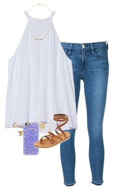 It's 75 degrees ☀️ by erinlmarkel on Polyvore featuring A.L.C., Frame Denim, K. Jacques, Kimberly McDonald, Jennifer Meyer Jewelry, Kate Spade, Estella Bartlett and Casetify