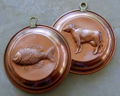Vintage Solid Copper Molds with Cow and Fish for by CallieAndTaz, $12.00