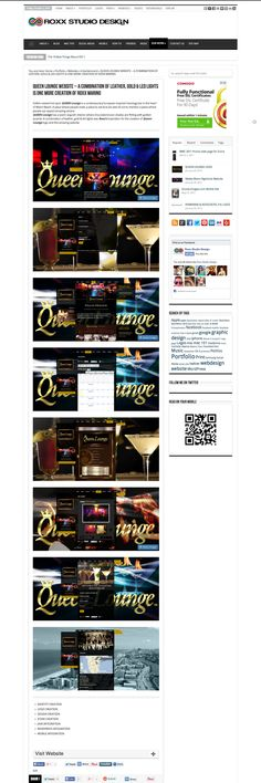 QUEEN LOUNGE WEBSITE - A combination of leather, gold and led lights is one more creation of Roxx Marino #website #design #wordpress
