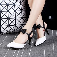 Sweety Womens Grace Bowknot Pointy Toe Slingback High Heels Gift Party Pump