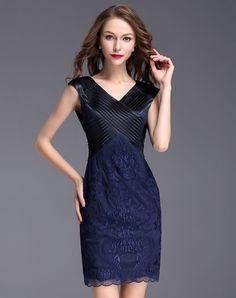 #AdoreWe #VIPme Sheath Dresses❤️Designer YZXH Royal Blue V Neck Sleeveless Lace Gauze Midi Dress - AdoreWe.com