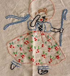Little Bo Peep Embroidery Vintage Embroidery, Embroidery Applique, Cross Stitch Embroidery, Embroidery Patterns, Quilt Patterns, Bordados E Cia, Little Bo Peep, Turkey Feathers, Aprons Vintage