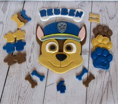 Chase paw patrol cake topper edible paw patrol chase fondant etsy thema paw patrol hondjes in suikerfondant taart biscuit met chocomousse Paw Patrol Cupcake Toppers, Paw Patrol Cupcakes, Paw Patrol Birthday Cake, Paw Patrol Party, Edible Paint, Edible Glue, Paw Patrol Cake Decorations, Chase Pat Patrouille, Edible Luster Dust