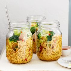 Smoked tofu and broccoli noodle pots are packed with flavour, low in fat and rich in vitamin C