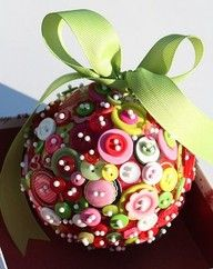 button ball ornament reminds me of a sequin, beads and satin ribbon ornament from childhood