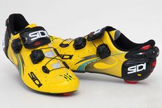 Sidi made a special yellow pair of shoes for Chris Froome