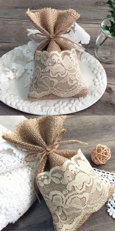 natural rustic vintage lace burlap wedding favor bag