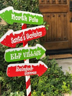 This adorable north pole sign is 36 inches tall and 18 inches wide. It is made on a wooden stick, with PVC in vinyl north pole, Santa's workshop, elf village, reindeer games arrow signs Elf Christmas Decorations, Christmas Door Decorating Contest, Elf Decorations, Christmas Yard Art, Office Christmas, Christmas Wood, Christmas Signs, Christmas Crafts, Disney Christmas