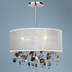 "Around Town Pearl and White 18"" Wide Pendant Chandelier -   Possible suspended bedside light"