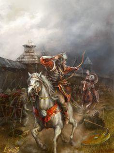 m Fighter on Horseback firing Bow battle castle town 1161