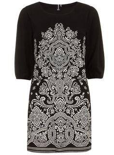 Black 3/4 sleeve dress with a round neckline and plain trim cuffs.