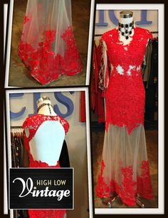 Vintage Red Lace Red Rhinestone Gown Long Maxi by HighLowVintage