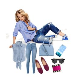"""jean on jean style"" by selin789 on Polyvore featuring Maison Scotch, 7 For All Mankind, H&M, Michael Kors, Casetify, Smoke & Mirrors and Valentino"
