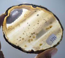 BRAZILIAN  GOLD PLATED AGATE COASTER SLICE #5004