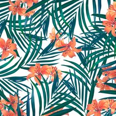 Tropical Lilies Canvas Art Print by Tamsin Lucie. Botanical pattern of fern leaves and orange lilies.