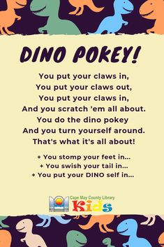 A great action song for dinosaurs! Dinosaur Theme Preschool, Dinosaur Activities, Preschool Music, Toddler Learning Activities, Preschool Lessons, Preschool Classroom, In Kindergarten, Dinosaur Songs For Kids, Dinosaur Rhymes