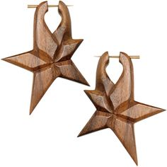 Hand Carved Organic Sono Wood Star Hanger Earrings $11.99 organic, horn, tribal, boho, bohemian, earrings, tapers, plugs, body candy, body jewelry, piercing , #star #gift #holiday