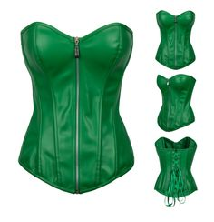 2016 New Women's Sexy Green lacquer Overbust corsets Lingerie Faux Leather Gothic Corset Bustiers corselet Clubwear Top S-2XL